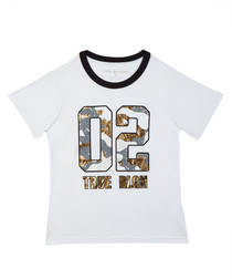 Boy's White cotton motif T-shirt