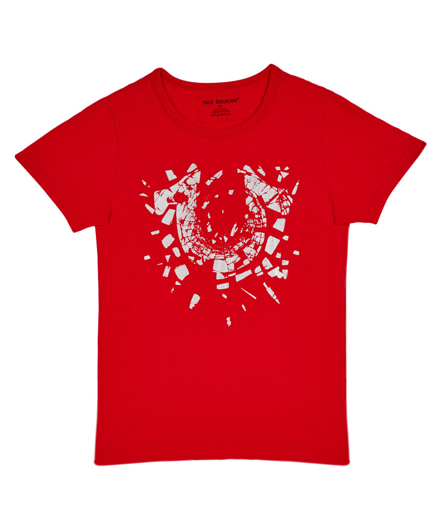 Boy's Shattered red pure cotton T-shirt Sale - true religion