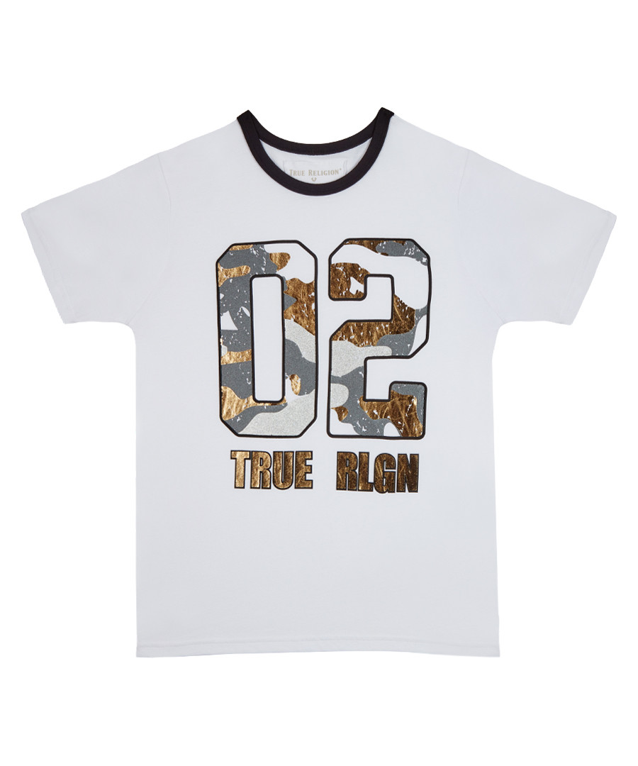Boy's White cotton motif T-shirt Sale - true religion