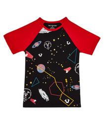 Boy's Black cotton space T-shirt