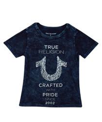 Boy's Shoestring indigo cotton T-shirt