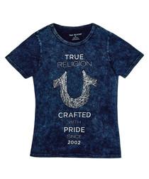 Boy's Shoestring blue cotton T-shirt