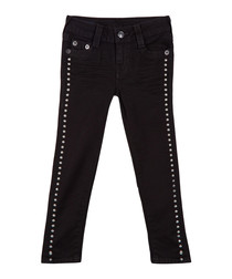Girl's Casey black cotton blend jeans