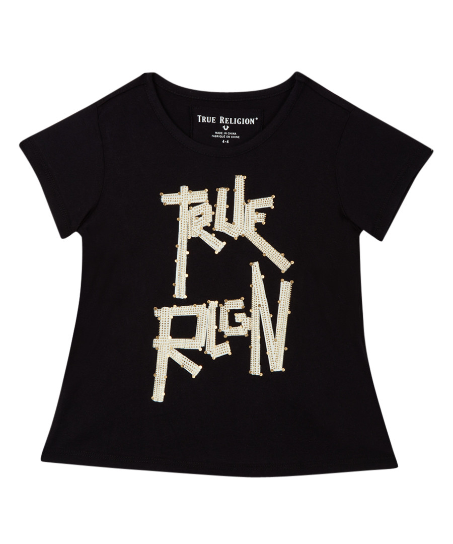 Girl's black cotton motif T-shirt Sale - true religion