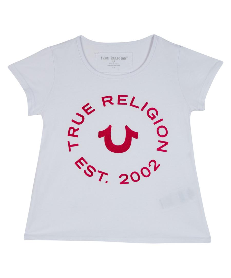 Girl's white cotton logo T-shirt Sale - true religion