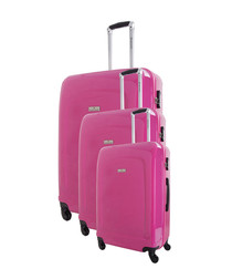 3pc Fuchsia spinner suitcase set