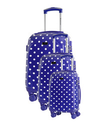 3pc navy blue spinner suitcase set