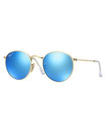 Gold-tone & blue mirror sunglasses