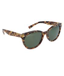 Beige tortoiseshell rounded sunglasses