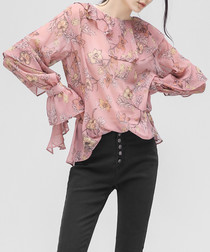 Pink floral print ruffle blouse