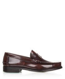 Men's Brown leather slip-on loafers