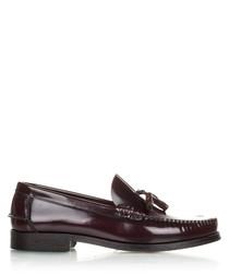 Men's Burgundy leather tassel loafers
