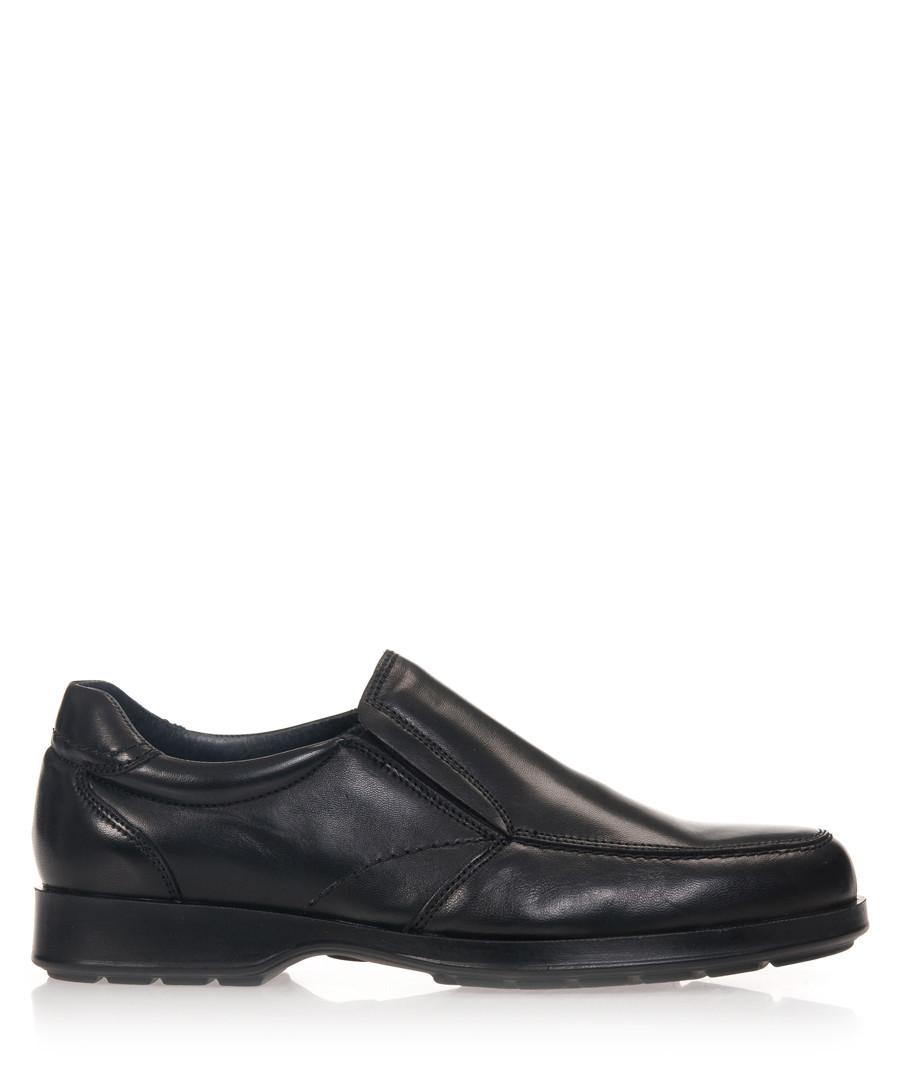 Men's Black leather slip-on shoes Sale - Castellanisimos