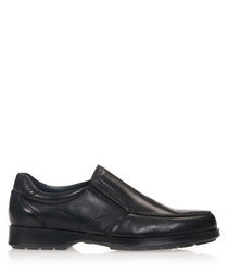 Men's Black leather slip-on shoes