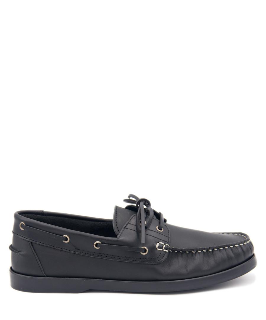Men's Black leather lace-up boat shoes Sale - Castellanisimos