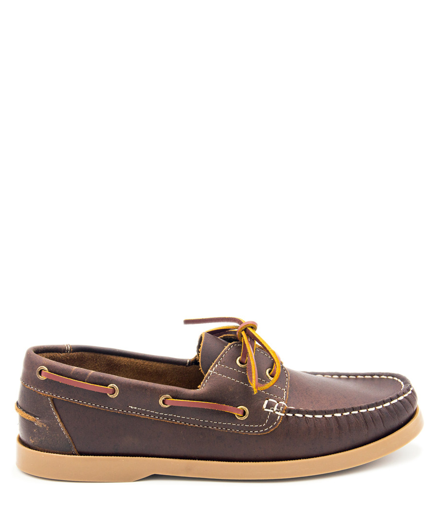 Brown leather lace-up boat shoes Sale - Castellanisimos