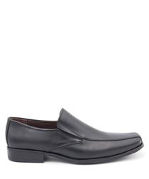 Men's Black leather slip-on shoes