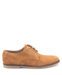 Taupe leather lace-up brogues