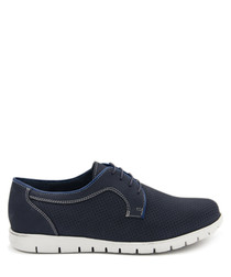 Navy blue leather lace-up shoes