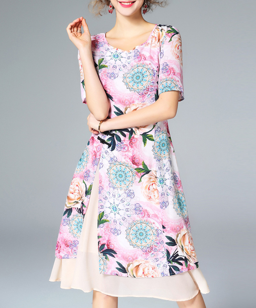 Pink pure silk print knee-length dress Sale - ELENYUN