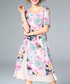 Pink pure silk print knee-length dress Sale - ELENYUN Sale
