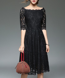 Black knee-length lace 3/4 sleeve dress
