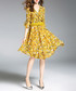Yellow floral print ruffle wrap dress Sale - ELENYUN Sale