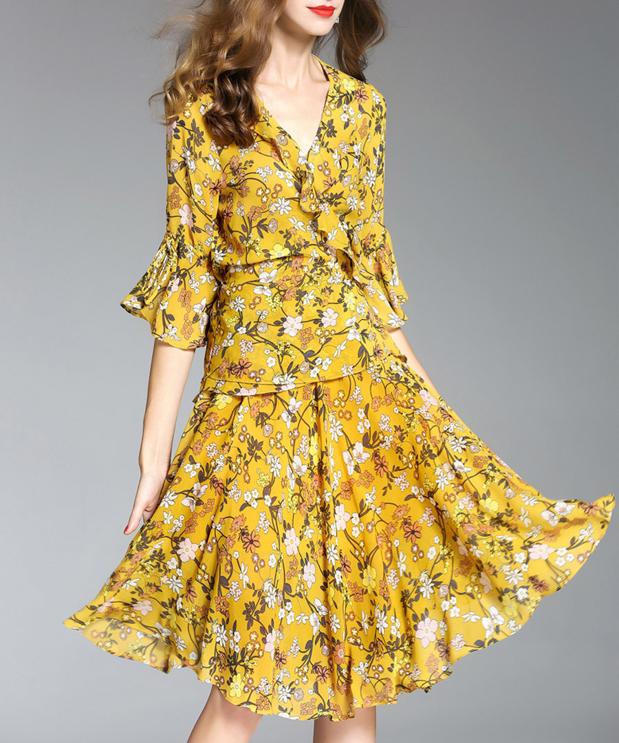 Yellow floral print ruffle wrap dress Sale - ELENYUN