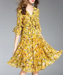 Yellow floral print ruffle wrap dress