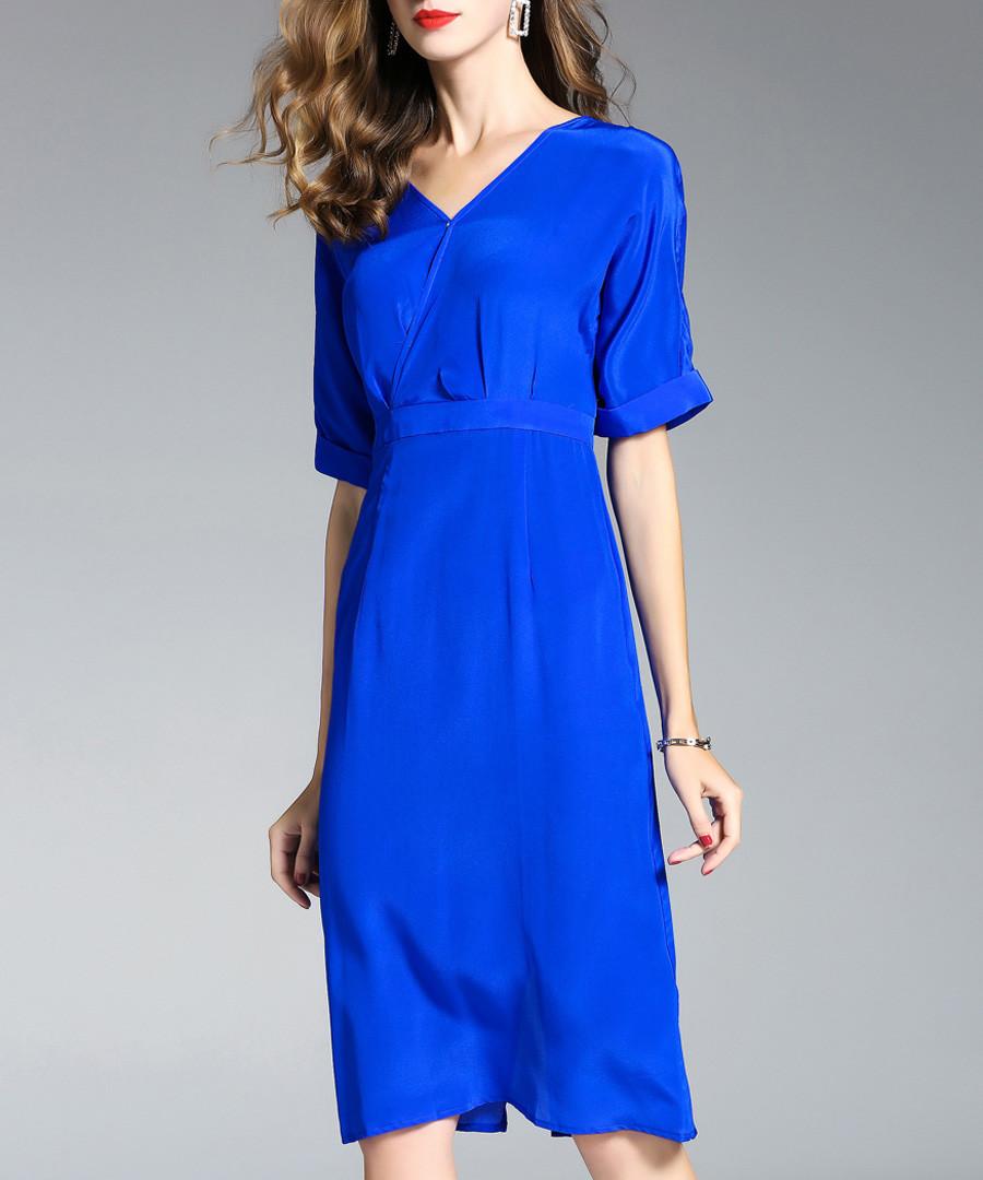 Blue pure silk knee-length sheath dress Sale - ELENYUN