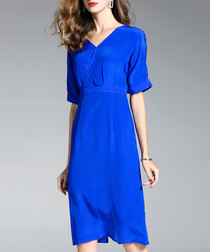 Blue pure silk knee-length sheath dress