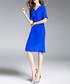 Blue pure silk knee-length sheath dress Sale - ELENYUN Sale