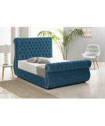 Blue deep buttoned super king bed