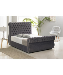 Charcoal deep buttoned double bed
