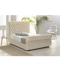 Cream deep buttoned double bed