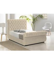 2pc cream king bed & mattress set