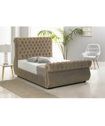 Mink deep buttoned double bed