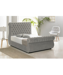 Silver deep buttoned double bed