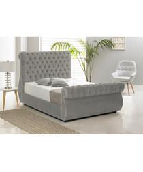 2pc silver s.king bed & mattress set