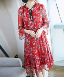 Red pure silk floral print dress
