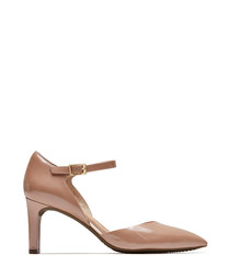 Nude leather pointed strappy heels