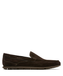 Dark brown leather slip-on loafers