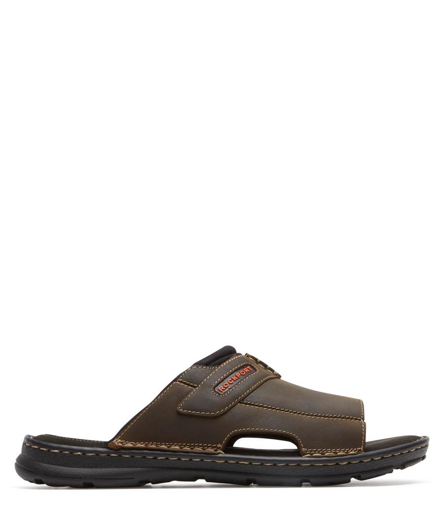 Darwyn dark brown leather sandals Sale - Rockport