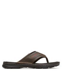 Darwyn dark brown leather sandals