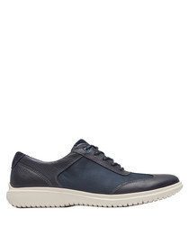 Dark blue leather lace-up sneakers