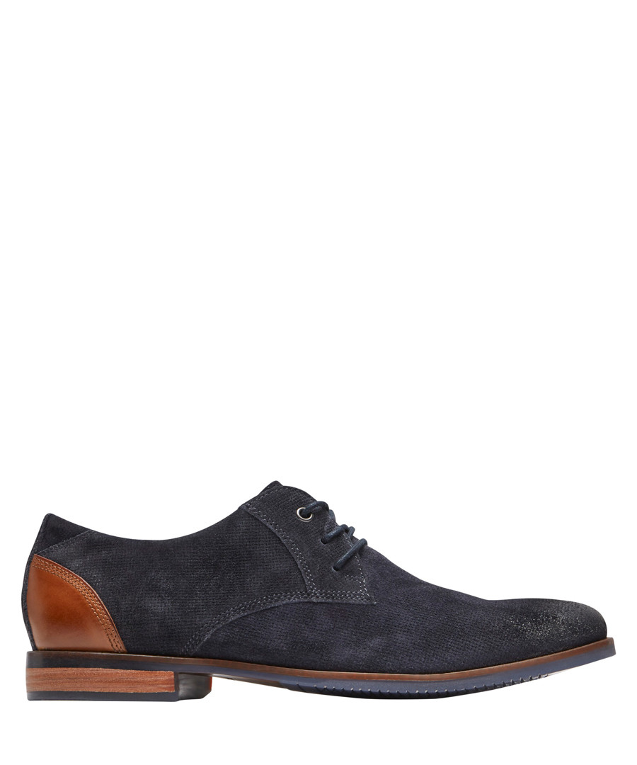 Blucher navy leather lace-up shoes Sale - rockport