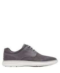 Zaden grey leather lace-up sneakers