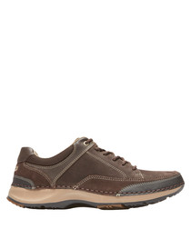 Dark brown leather lace-up sneakers