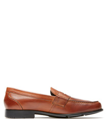 Penny tan leather slip-on loafers