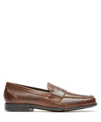 Penny dark brown leather loafers